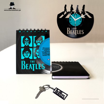 RELOJ + LIBRETA + LLAVERO THE BEATLES